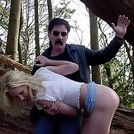 Hot blonde spanked in the forest with her panties down - burning red cheeks