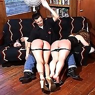 Hot firm sexy tramps get their asses pummeled with the cane