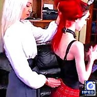 Slutty Cheerleaders get their asses paddled by the headmistress