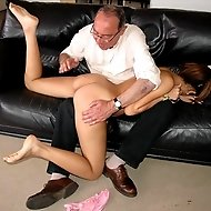 Stunning cutie is brutally spanked over an old guy's knee