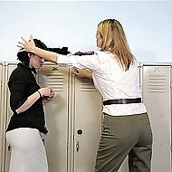 Babe gets caned at her locker by hot blond teacher