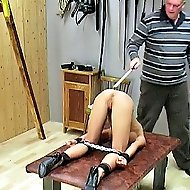 Hot slut gets her asshole caned