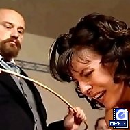 Stunning Brunette is tied to the bench for a brutal caning