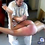 Pretty Brunette is punished fully nude by 2 men