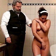 Brutal caning and humiliation for a poor maid's misbehaviour