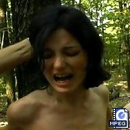 In the solitude of the woods, no one can hear Amy`s screams as Arthur lays into her with a whip