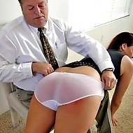 Pretty executive caught on camera making out faces a 12-stroke bare caning!