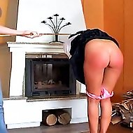Girl in mini skirt gets her red ass caned