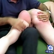 Shameful spankings with her ass cheeks widely spread for a hot teenage girl